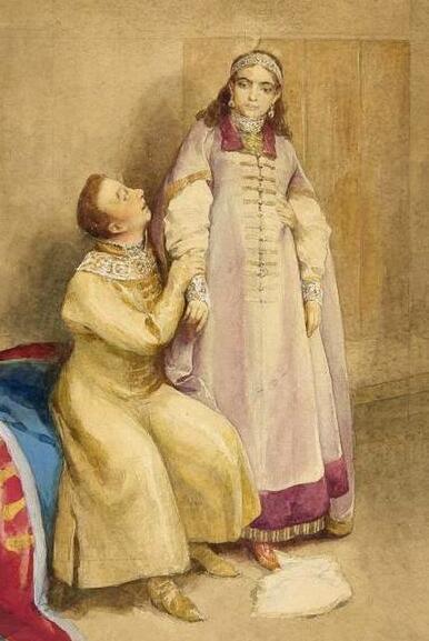 К. Лебедев, «Лжедмитрий I и царевна Ксения Годунова» (фрагмент), XIX в.