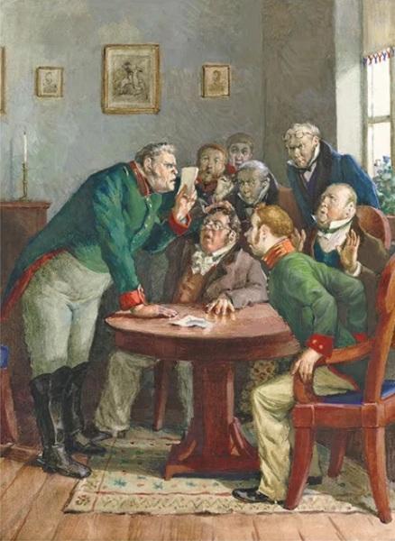 А. И. Константиновский, «Городничий и чиновники», иллюстрация комедии Н.В. Гоголя