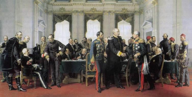 Антон фон Вернер «Берлинский конгресс» (А. М. Горчаков (слева, сидит, касаясь руки Дизраэли), Отто фон Бисмарк (в центре, жмет руку Шувалову))
