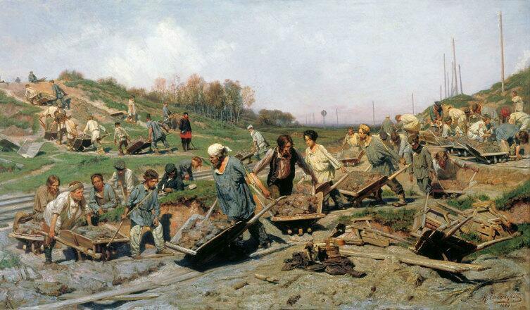 К. А. Савицкий, «Ремонтные работы, на железной дороге», 1874 г.