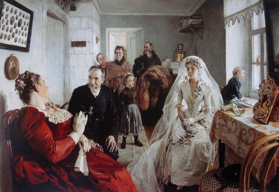 И. М. Прянишников, «В ожидании шафера», 1891 г.