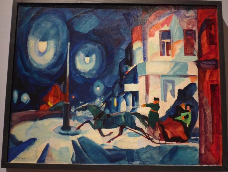 Р. Р. Френц, «Невский ночью. Извозчик», 1923 г.