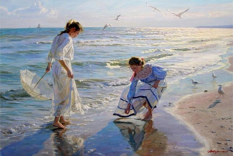 А. Н. Аверин, «Две девушки ищут янтарь на пляже»