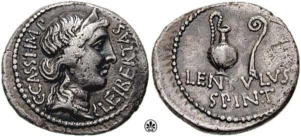 Денарий Гая Кассия Лонгина и Лентула Спинтера с изображением богини свободы (Либертас) 42 г. до н. э. Военный монетный двор в Смирне