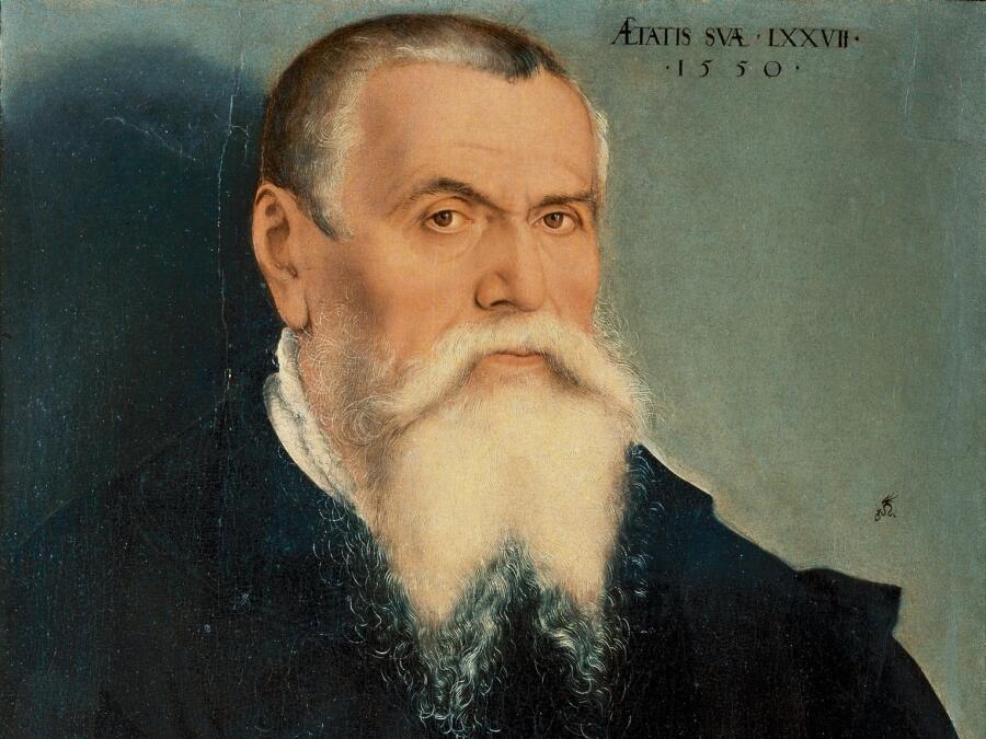 Лукас Кранах, «Автопортрет» (фрагмент), 1550 г.