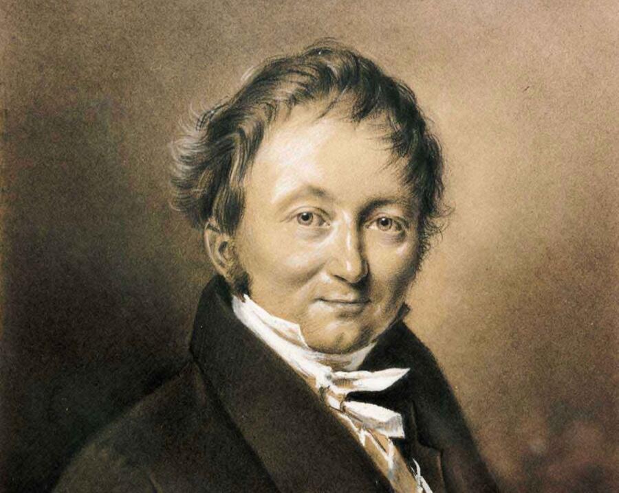 Неизвестный автор, «Портрет барона Карла фон Дреза» (фрагмент), 1820 г.