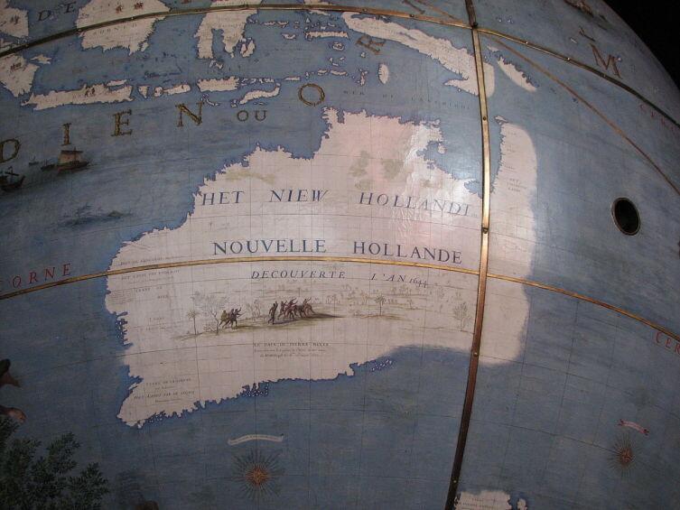 Новая Голландия (Австралия) на глобусе 1681 года