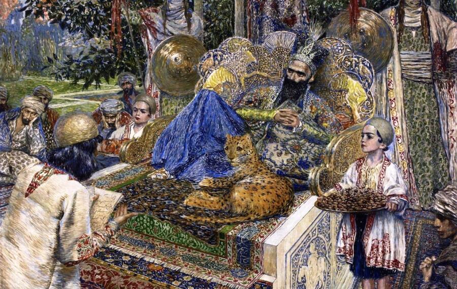 В. Суренянц, «Фирдоуси читает поэму «Шах-Наме» шаху Махмуду Газневи» (фрагмент), 1913 г.