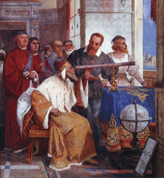 Дж. Бертини, «Галилей показывает телескоп венецианскому дожу», фреска