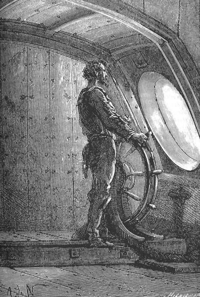 Капитан Немо у штурвала «Наутилуса»