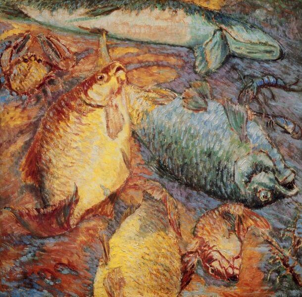 М. Ф. Ларионов, «Рыбы при заходящем солнце», 1904 г.
