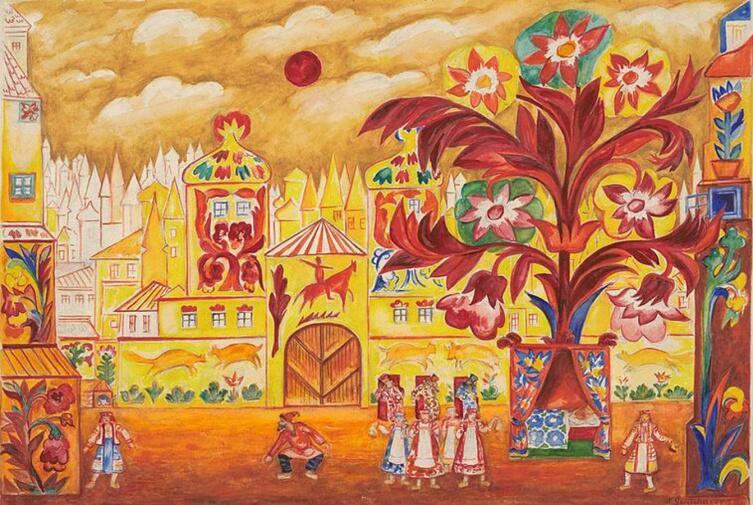Н. С. Гончарова, эскиз декорации к спектаклю «Золотой петушок»,   1914 г.