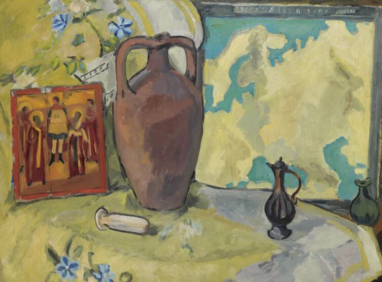 М. Ф. Ларионов, «Натюрморт с кувшином и иконой», 1912 г.