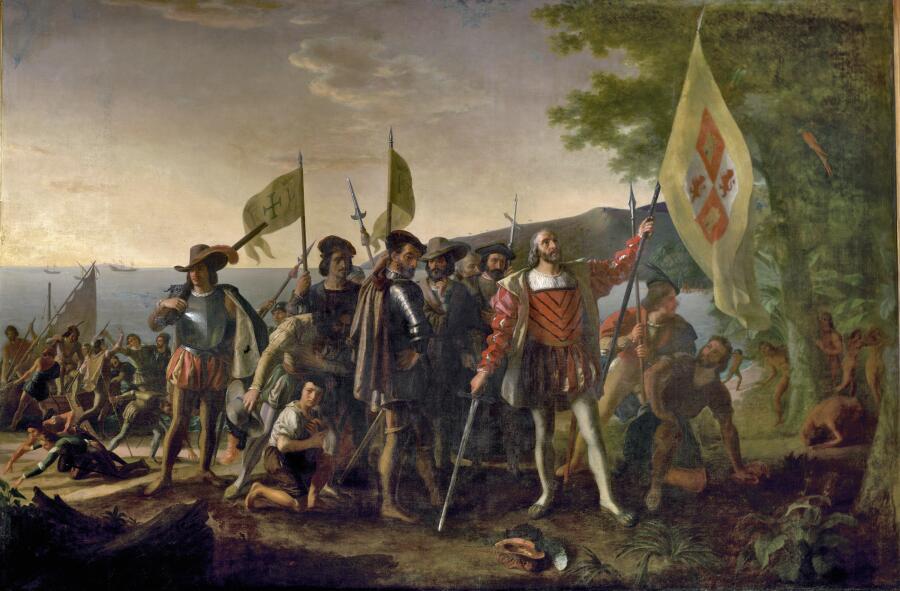 Д. Вандерлин, «Высадка Колумба в Америке», 1847 г.