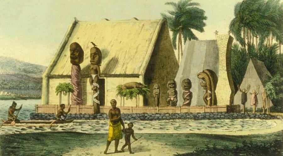 Рисунок, изображающий поселение жителей островов до прихода европейцев, 1816 г.