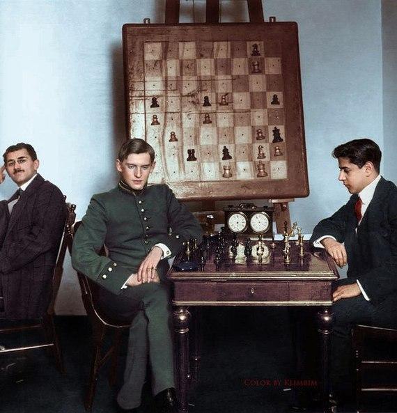 А. Алехин и Х. Р. Капабланка на петербургском шахматном турнире 1914 года