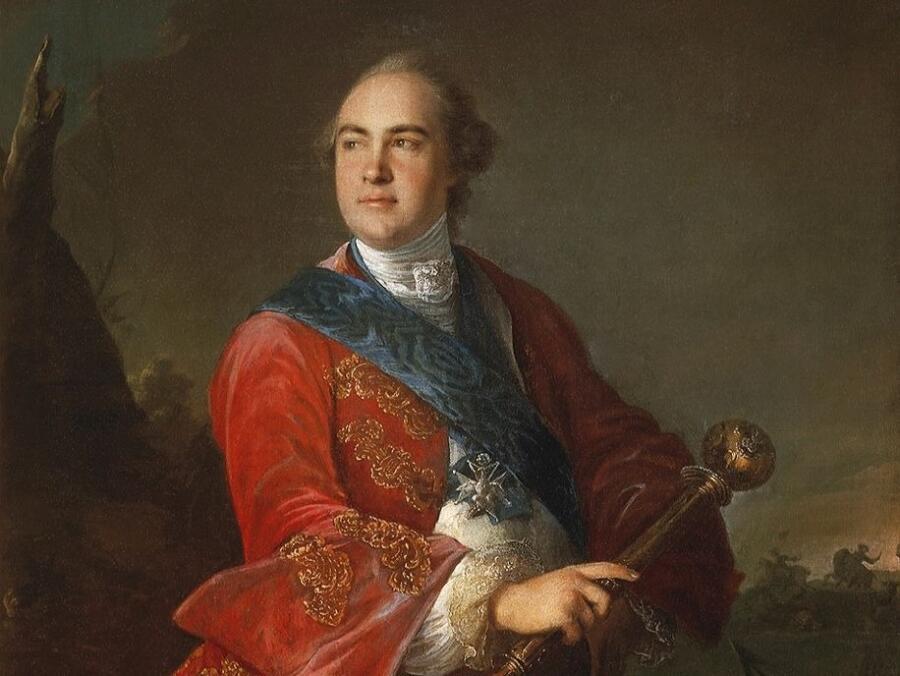 Луи Токке, «К. Г. Разумовский с гетманской булавой» (фрагмент), 1758 г.