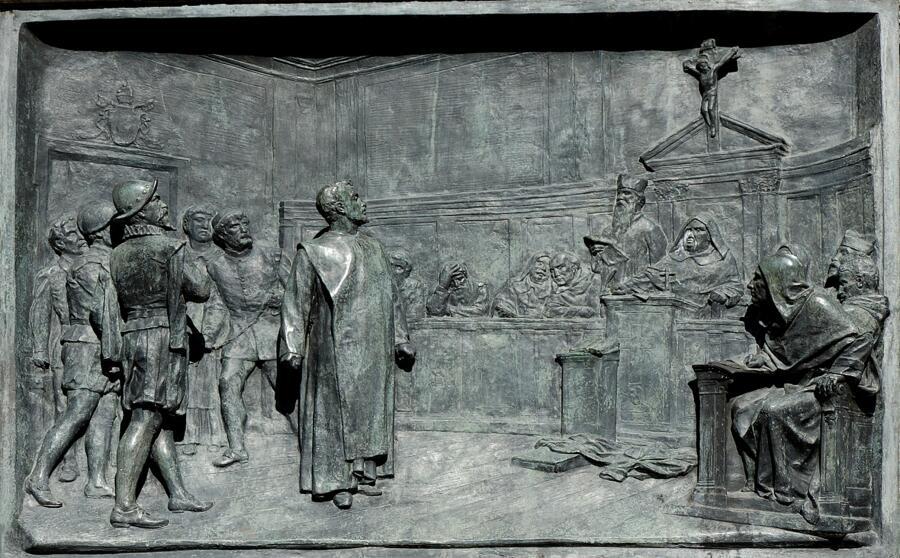 Суд над Джордано Бруно, барельеф
