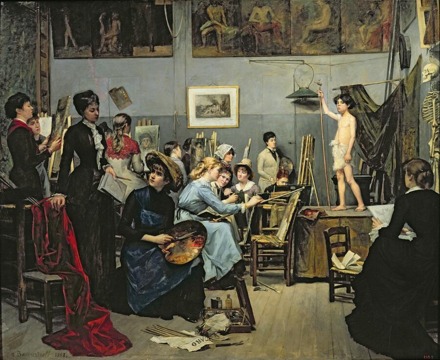 Мария Башкирцева, «В студии. Мастерская Жюлиана», 1881 г.