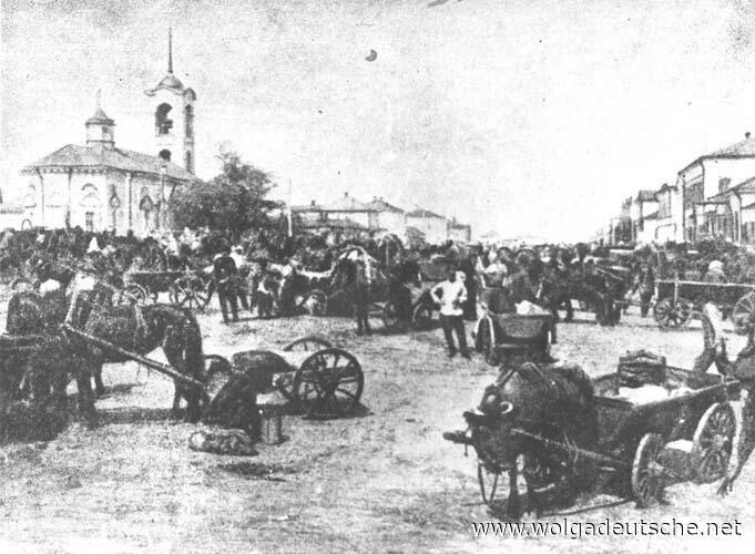 Базарный день в Екатериненштадте, фото до 1917 г.