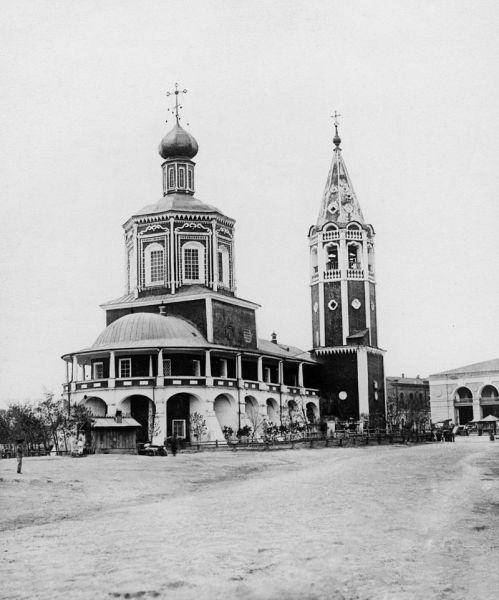 Вид старого собора и гостиного двора со стороны Троицкого взвоза 1880—1890 годы