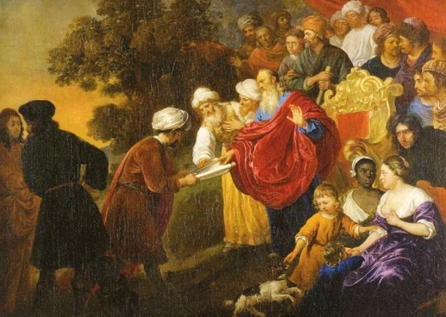 Якоб ван Лоо, «Зоровавель показывает персидскому царю Киру план Иерусалима» (фрагмент)
