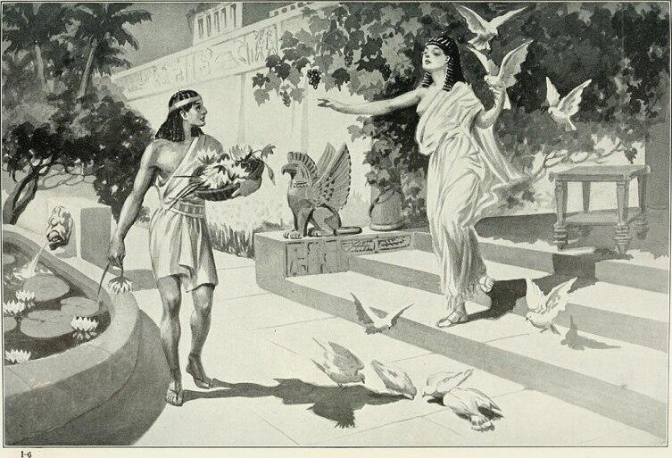Иштар, окруженная облаком голубей, предстаёт перед молодым садовником Саргоном. Иллюстрация новоассирийской легенды, 1913 г.