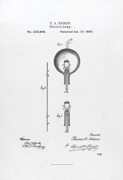 Титульный лист патента Эдисона на электрическую лампу 1880 г.