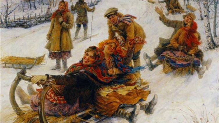 Ф. Сычков, «Катание на масленице», 1914 г.