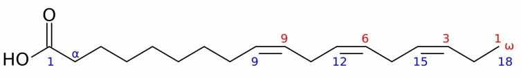 Пример химической структуры ω−3-полиненасыщенной жирной кислоты (изображена альфа-линоленовая кислота)