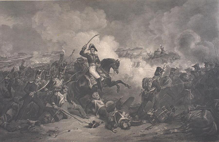 «Атака маршала Нея при Бородино», гравюра по картине Ланглуа