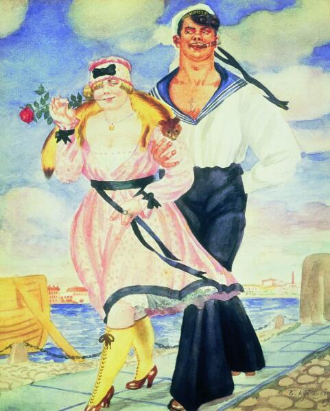 Б. М. Кустодиев, «Матрос и милая. Из серии