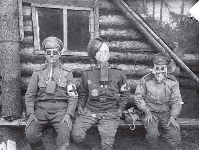 Российские солдаты в газовой маске и противогазах