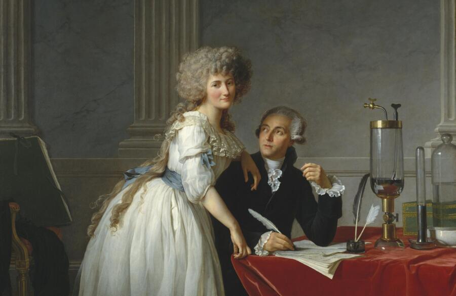 Жак-Луи Давид, «Антуана Лорана Лавуазье и его жены Мари Энн Пьерретт Ползе» (фрагмент), 1788 г.