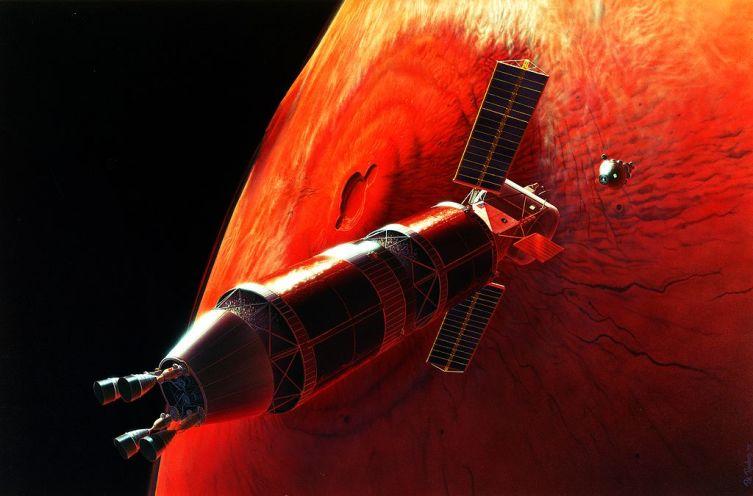 Стыковка на марсианской орбите в представлении художника. Это одна из концепций высадки на Марс, планировавшейся НАСА