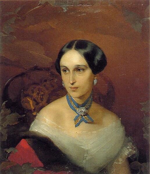 Портрет Н. Н. Ланской художника Макарова, 1849 г.