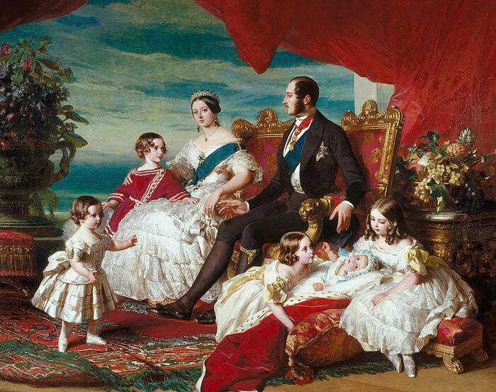 Семья Виктории в 1846 году кисти Франца Ксавера Винтерхальтера. Слева направо: принц Альфред и принц Уэльский; королева и принц Альберт; принцессы Алиса, Елена и Виктория