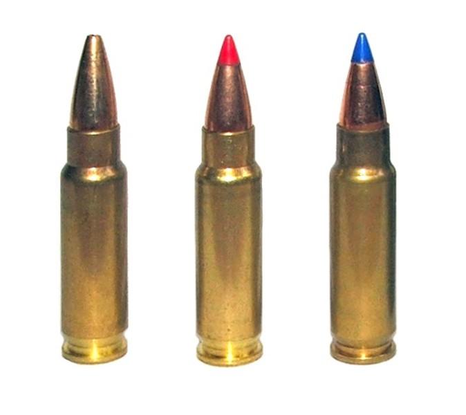 Патроны 5,7×28 мм, используемые в Five-seveN. Слева направо: SS195LF hollow point, SS196SR V-Max, и SS197SR V-Max