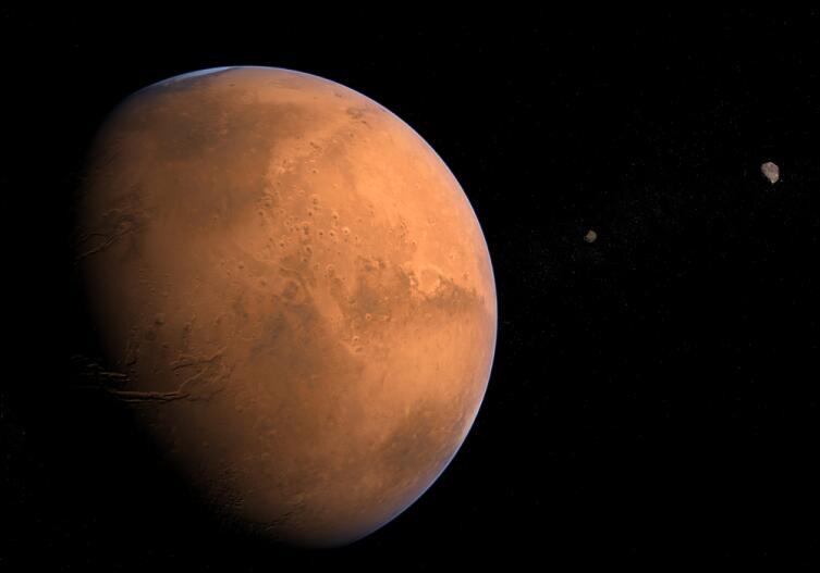 Марс и его спутники Фобос и Деймос