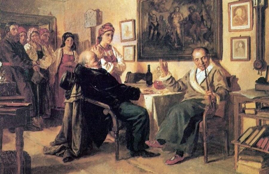 Н. В. Неврев, «Торг. Сцена из крепостного быта. Из недавнего прошлого», 1866 г.