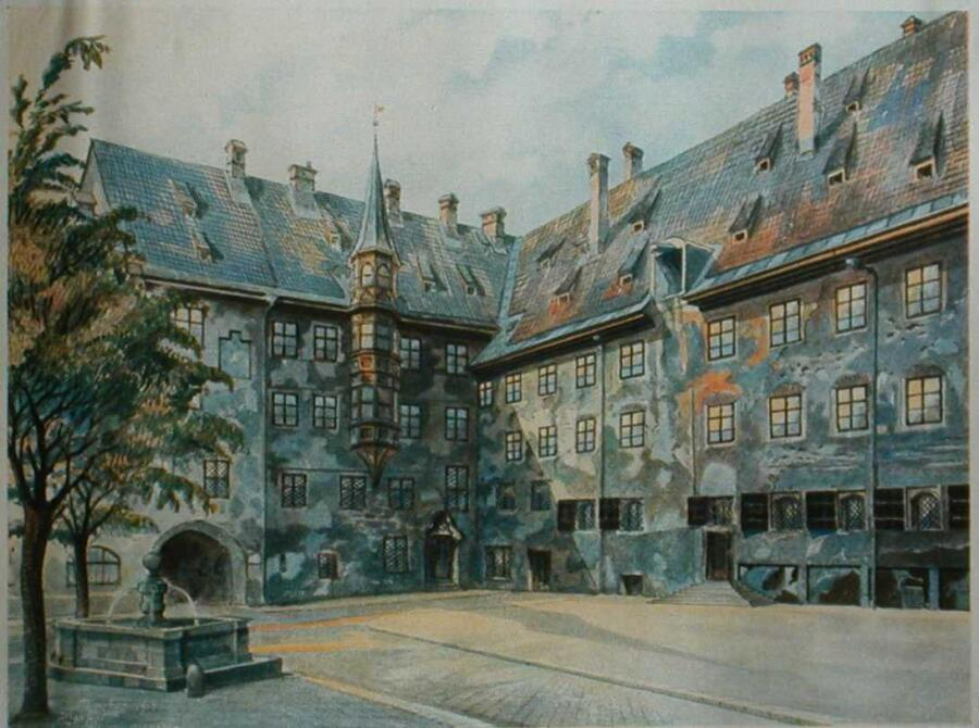 А. Гитлер, «Внутренний двор старой резиденции в Мюнхене», 1914 г.