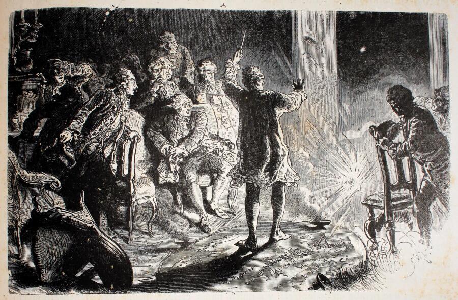 Калиостро вызывает духов в Дрездене, иллюстрация из книги «Две тысячи лет истории Германии»