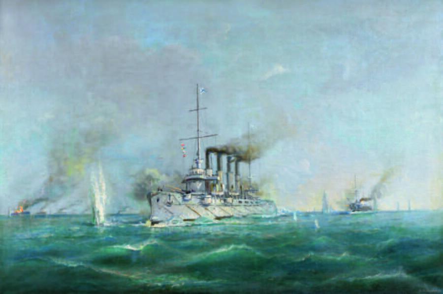 М. М. Степанов, «Бой крейсера «Варяг» и канонерской лодки «Кореец» с японской эскадрой», 1952 г.