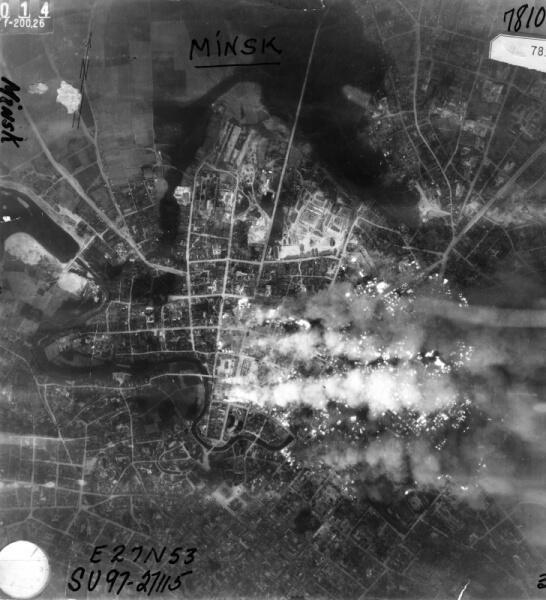 Аэрофотосъемка пожаров после налетов люфтваффе на Минск 24-25 июня 1941 года