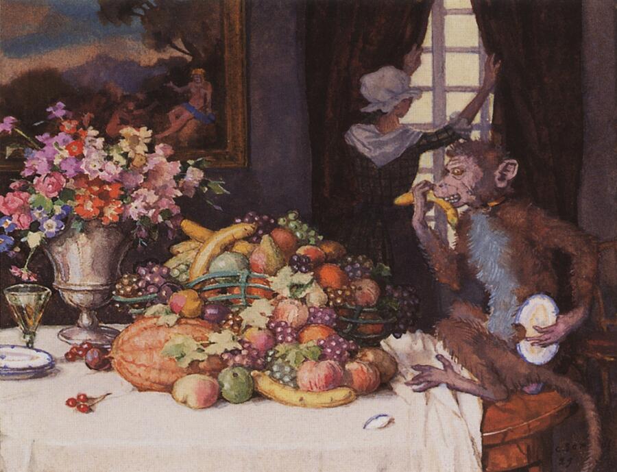 К. Сомов,<br /> «Жадная обезьянка», 1929 г.