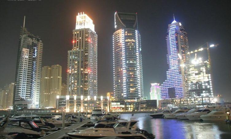 Дубай Марина ночью