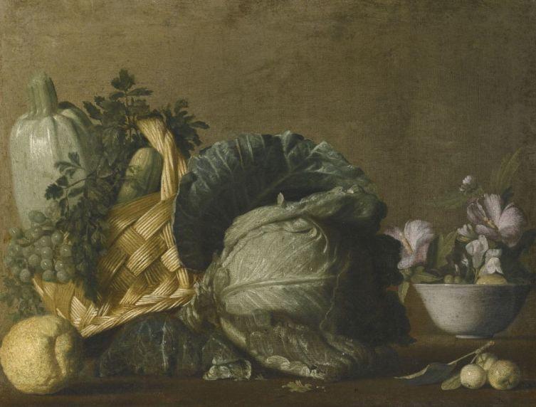 Бернардо Строцци, «Натюрморт с кабачками и виноградом в корзине, капустой, лимоном и цветами в вазе»