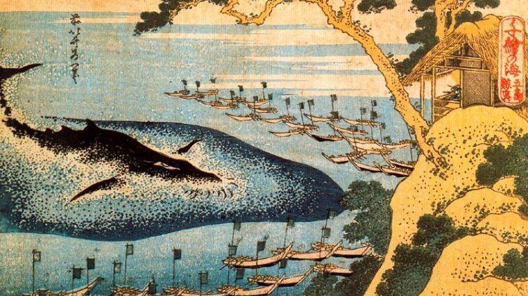 Кацусика Хокусай, «Китобойня в Гото», 1834 г.