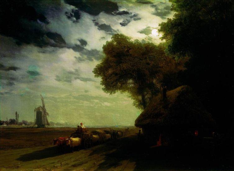 И. К. Айвазовский, «Украинский пейзаж с чумаками при луне», 1869 г.