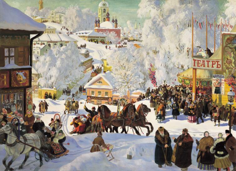 Б. М. Кустодиев, «Масленица (Масленичное катание)», 1919 г.